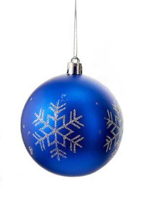 blue ball: Blue christmas ball with silver sparkly snowflakes isolated on white background Stock Photo