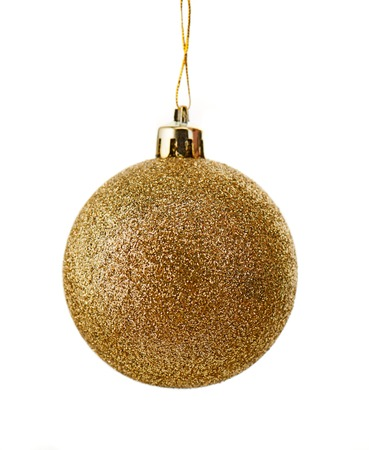 christmas isolated: Sparkly christmas ball covered with gold glitter isolated on white background Stock Photo