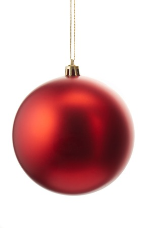 new ball: Red christmas ball isolated on white background