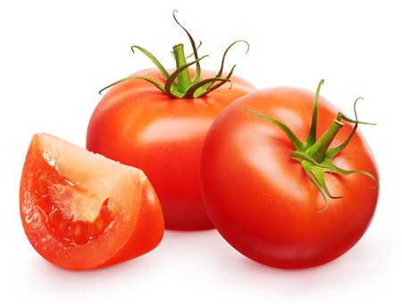 Two whole fresh red tomatoes with green leaves and slice isolated on white background