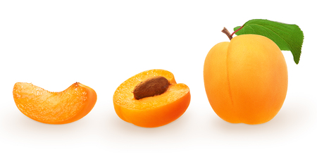 Whole fresh apricot fruit with green leaf, half with seed and slice isolated on white background. With clipping mask