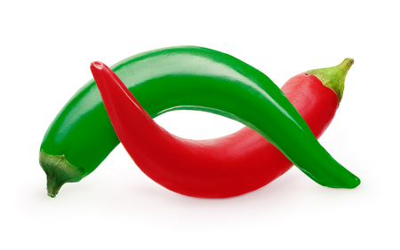 spiciness: Whole red and green chili pepper vegetables isolated on white background