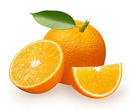 Whole fresh orange fruit with green leaf, half and slice isolated on white background Stock Photo