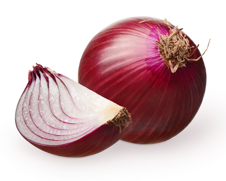 Whole fresh unpeeled red onion and slice isolated on white background
