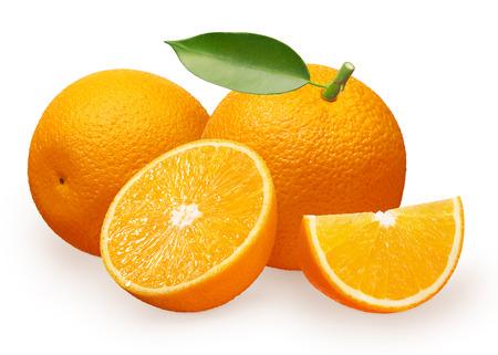 Whole fresh orange fruit with green leaf next to orange lying on its side, half and slice isolated on white background