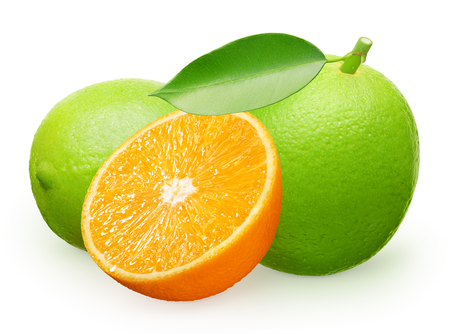 Whole fresh lime fruit with green leaf next to lime lying on its side and half of orange isolated on white background Stock Photo