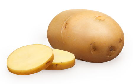Whole fresh unpeeled potato and two chopped pieces isolated on white background