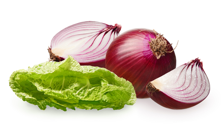 Whole fresh unpeeled red onion with half and slice near green salad isolated on white background