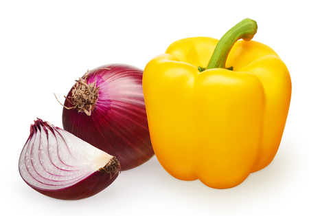 Whole fresh unpeeled red onion with slice and yellow bell pepper isolated on white background Stock Photo