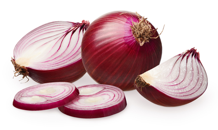 Whole fresh unpeeled red onion, half, slice and two chopped pieces isolated on white background