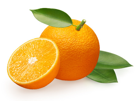 Whole fresh orange fruit with half and green leaves isolated on white background Фото со стока