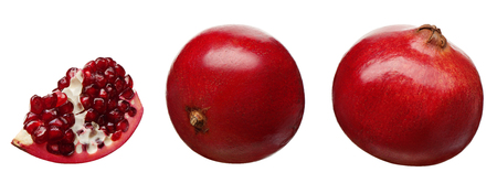 Section and whole fresh pomegranate fruit at different angles isolated on white background