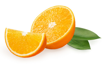 Half and slice of fresh orange fruit with green leaves isolated on white background Фото со стока