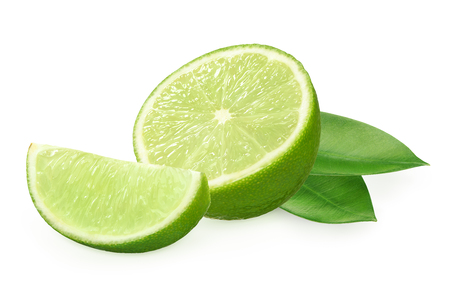 Half and slice of fresh lime fruit with green leaves isolated on white background