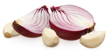 Half and slice of fresh unpeeled red onion and three peeled cloves of garlic isolated on white background
