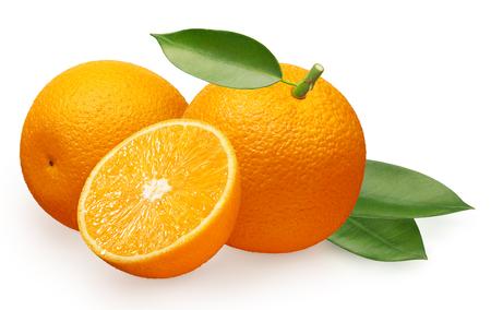 Whole fresh orange fruit next to orange lying on its side, half and green leaves isolated on white background Stock fotó