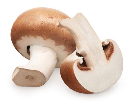 Fresh royal champignon mushroom and half isolated on white background