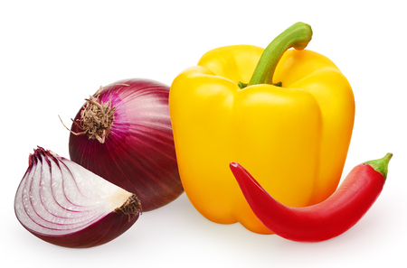 Whole fresh unpeeled red onion with slice, yellow bell pepper and red hot chili pepper isolated on white background