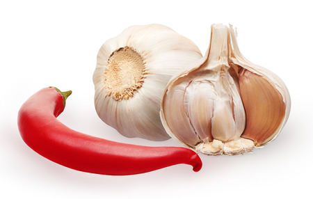 Fresh garlic and red chili pepper vegetable isolated on white background