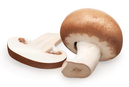 Fresh royal champignon mushroom and slice isolated on white background