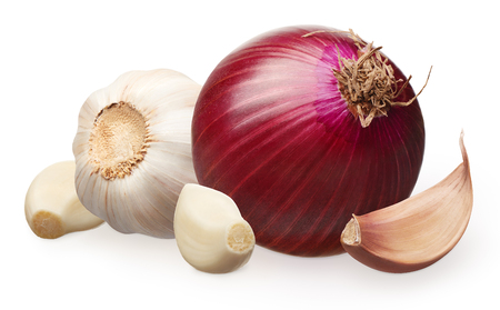 Red onion and garlic with cloves isolated on white background