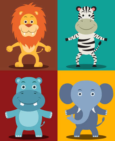 African Jungle Animals including Lion, Zebra, Hippopotamus & Elephant Vector