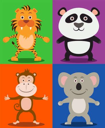 undomesticated cat: Jungle animals including Tiger, Panda, Monkey   Koala Bear