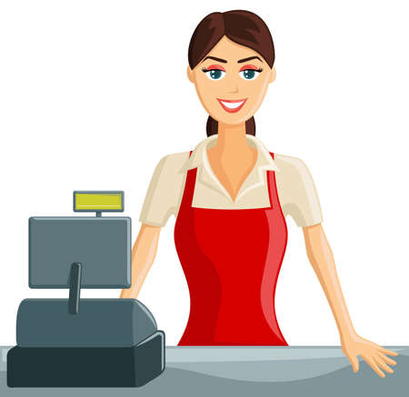 welcoming: Smiling Supermarket Cashier Girl welcoming customers Illustration