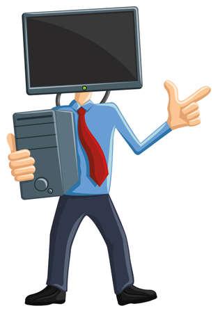 computer mascot: Computer Man Mascot with LCD monitor as head - carrying CPU