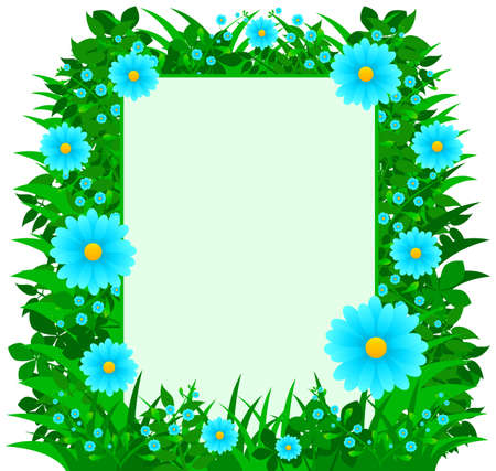 sized: Frame with different sized Daisy flowers   foliage