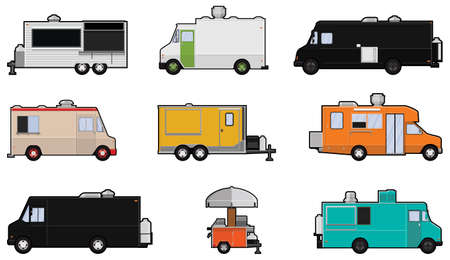 Nine different Food Trucks - Food truck Industry Stock Vector - 19715135