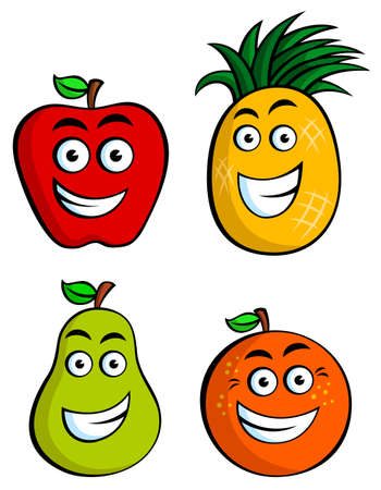 Funny Fruits including Apple, Pineapple, Pear & Orange Vector