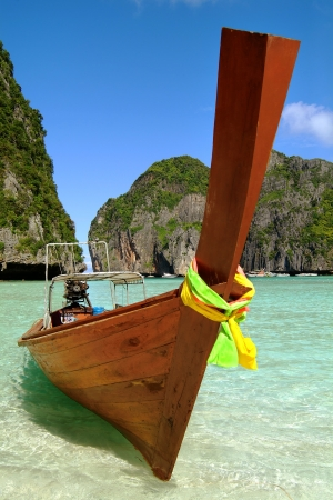 colourfully: Colourfully decorated boat at Maya Bay Stock Photo