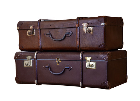 'hide out': Pile of old vintage suitcases - luggage Stock Photo