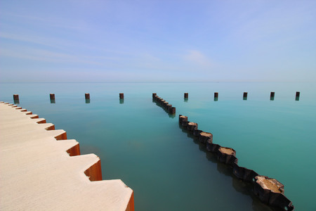 Turquoise serene water surface of Lake Michigan in Chicago