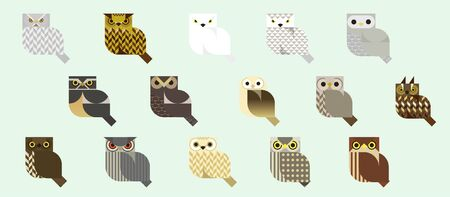 Owls around the world, geometric icon collection