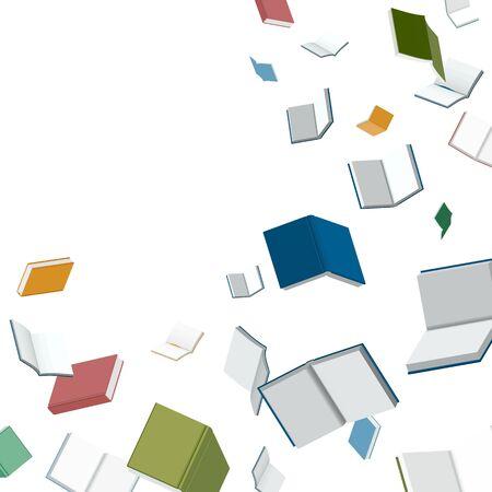 Books falling down vector illustration for banner and header Stock Illustratie
