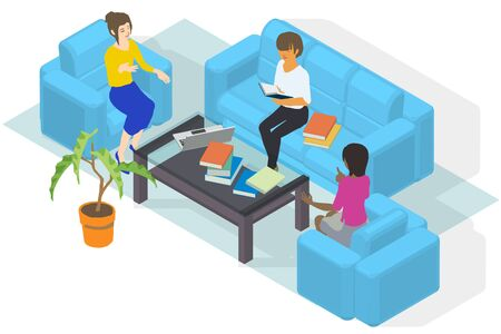 Three Women Are Planning Business at Home Office, Vector Illustration