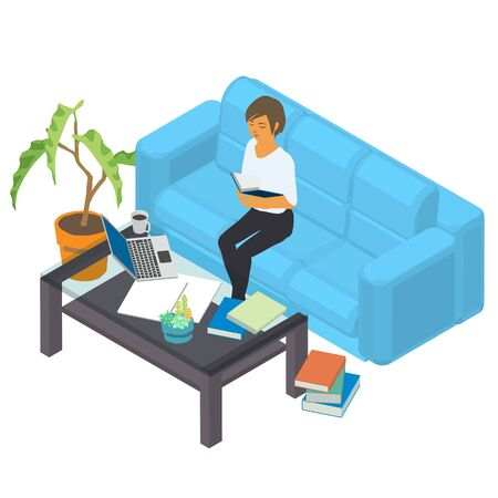 Woman work at home with laptop and a cup of coffee Stock Illustratie