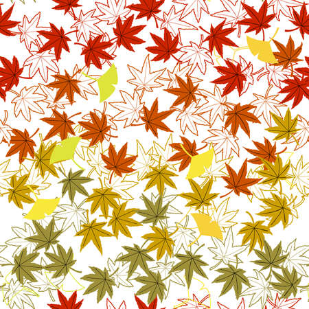 autumn leaves or momiji ,vector repeat background illustration Stock Illustratie
