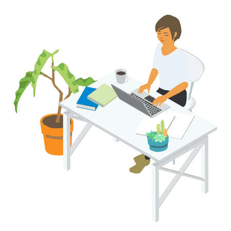 Isometric vector illustration of a woman using a computer at a desk