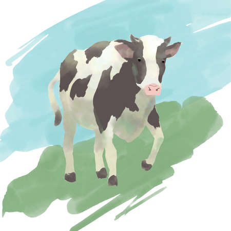 Natural dairy cow illustration with watercolor touch