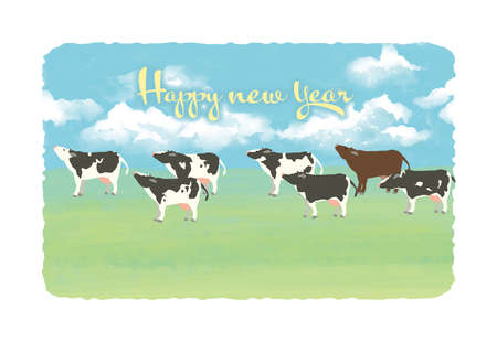 Postcard size template horizontal type for new year's card Stockfoto