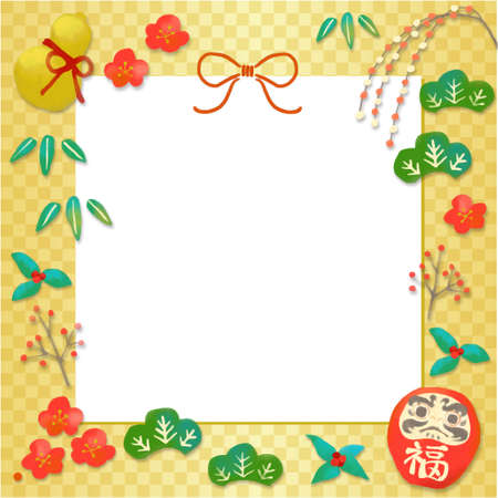 Square frame greeting of New Year's motif illustration