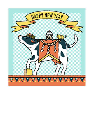2021 Year New Year's Card Simple 9 Cow Illustration Postcard Size Format