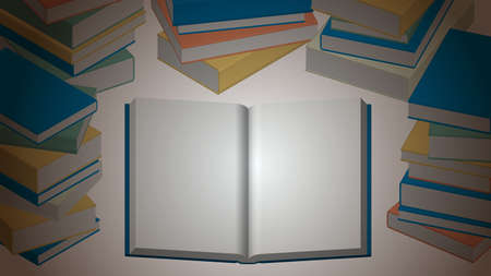 Background for banners and headings in stacked and open books