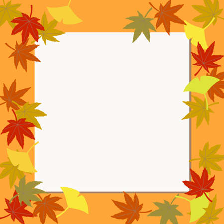 Square frame of autumn leaves. Banners, etc. Stock Illustratie