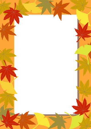 The vertical frame of the autumn leaves. on the poster. Stock Illustratie