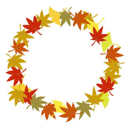 Circle frame of autumn leaves Stock Illustratie