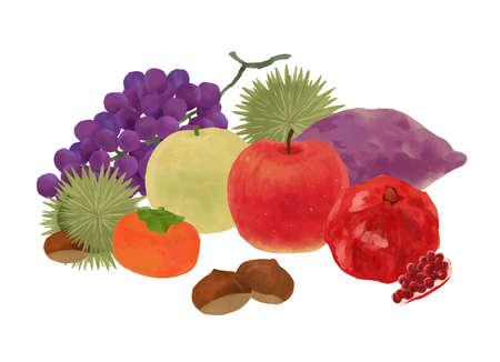Vector illustration of autumn fruit heap set to enjoy the autumn of appetite Stock Illustratie